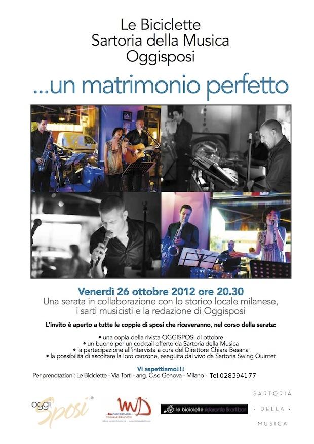 Serata dedicata agli Sposi - 26 ottobre 2012 alle Biciclette di Milano con Sartoria della Musica
