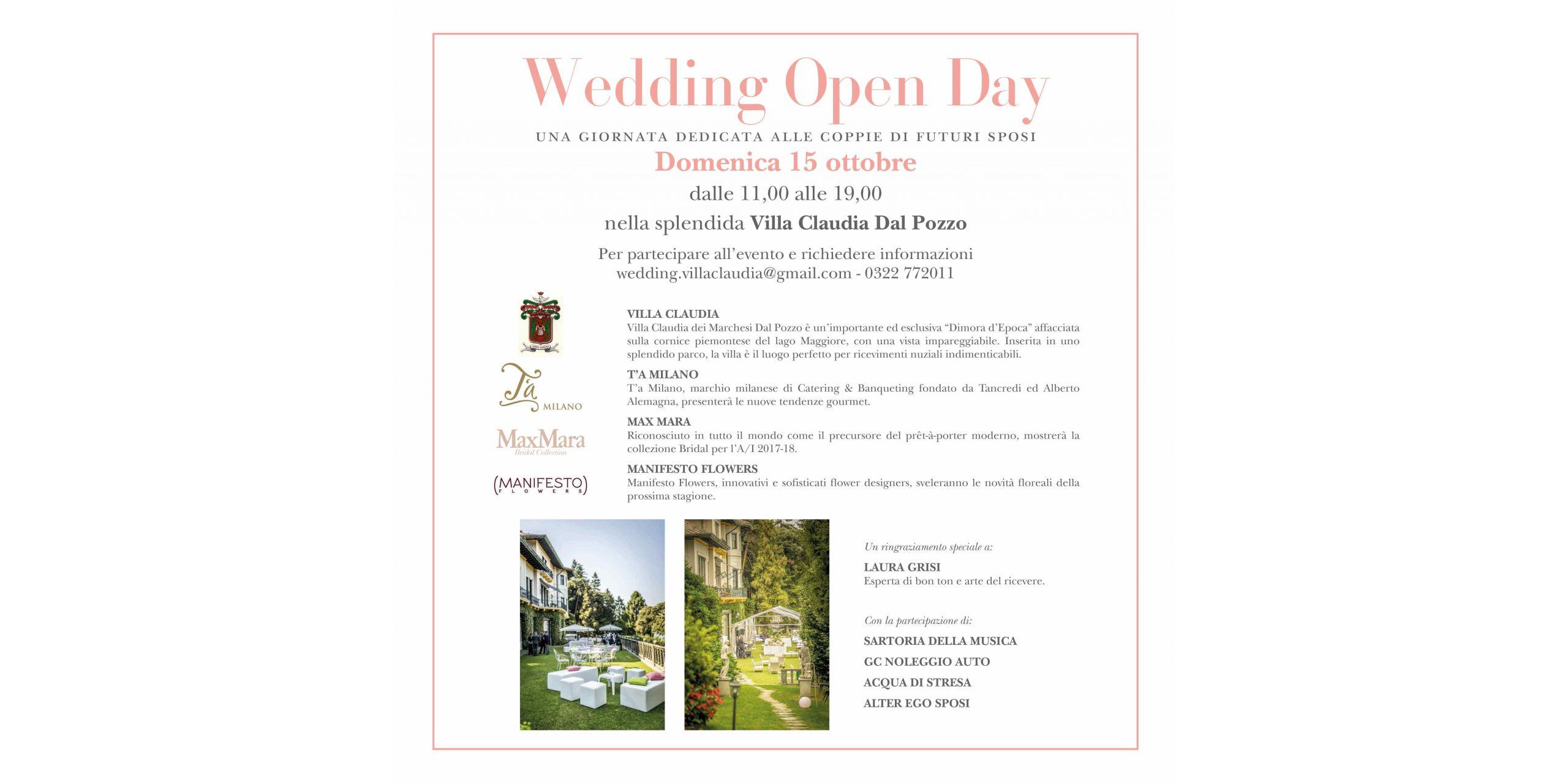 DOMENICA 15 OTTOBRE – WEDDING OPEN DAY A VILLA CLAUDIA DAL POZZO